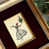 "Quran Quote Frame ""Allah is ever Hearing and Knowing"" Whirling Dervish Painting, Islamic Crafts Wall Decor, Muslim Gifts, Sufi Painting"