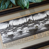 "Islamic Painting ""Bosporus"" ORIGINAL Fine Miniature Art, Turkish Art Black Wall Frame, Turkish New Home Gift for Man, Islam Wall Frame Art"