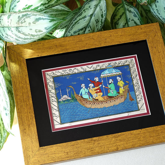 "Turkish Miniature Painting ORIGINAL Art ""Bosporus"" Islamic Wall Art Home Decor, Vintage Style Wall Decor Gold, New Home Housewarming Gift"