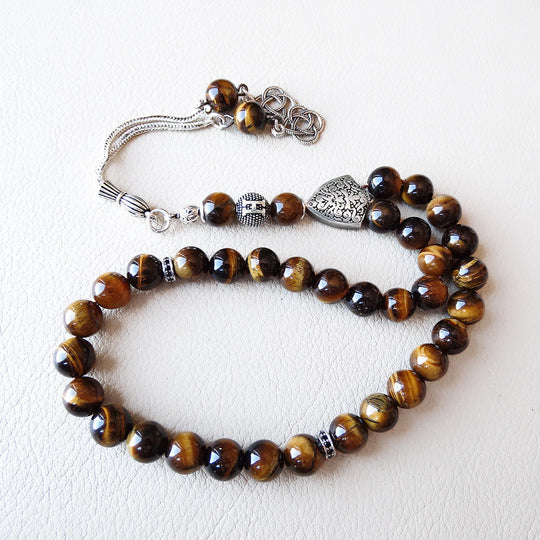 Brown Tigers Eye 925 SILVER 33 Prayer Beads Muslim Personalized Tasbih Misbaha