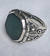 Handmade 925 Sterling Silver Hand Carved Green Agate Stone Islamic Ring