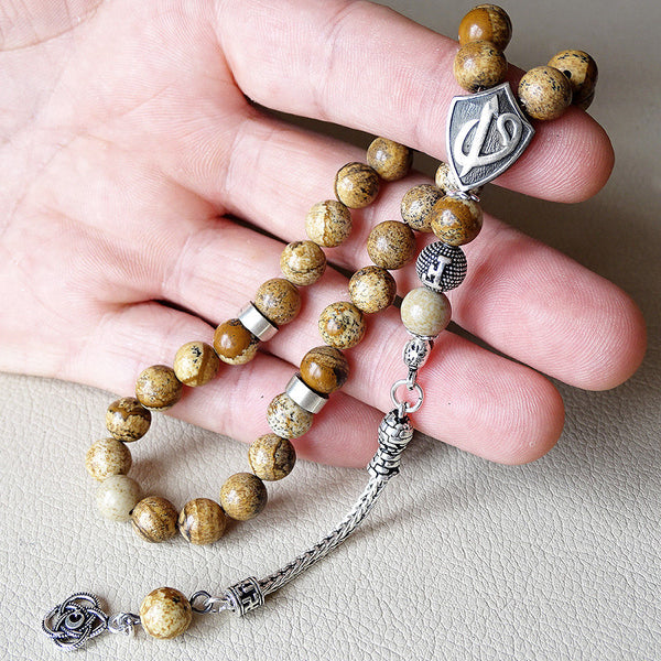 Silver Handmade Prayer Beads for Muslim Personalized Tasbih 33 Jasper Stone