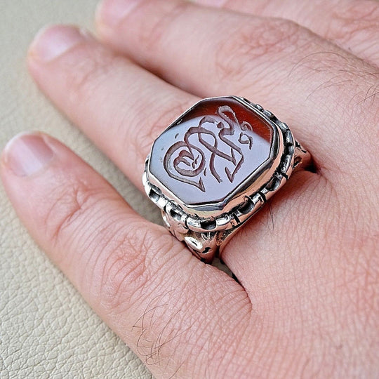 Hand Engraved Red Natural Agate Arabic Allahu Akbar Islamic Mens Silver Ring - islamicartstore.com