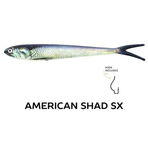 "Wounded Rattle ""SX"" by Nextgen with Trapper Tackle Heavy Cover Offset Wide Gap Hook (2 Baits, 1 Hook) TrapperTackle American Shad SX"