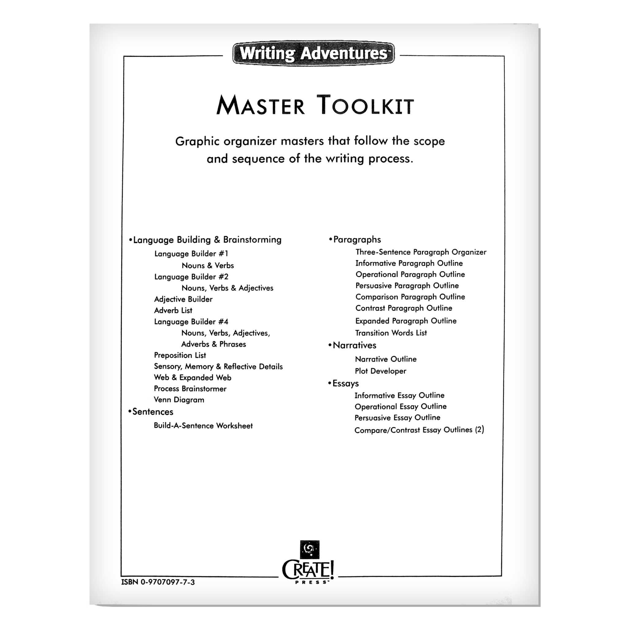 Writing adventures master toolkit create press writing adventures master toolkit ccuart Choice Image
