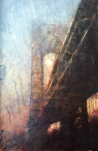 """Manhattan Bridge"" by Norbert Waysberg, Watercolor on Canvas"