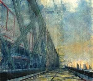 """Williamsburg Bridge"" by Norbert Waysberg, Watercolor on Canvas"