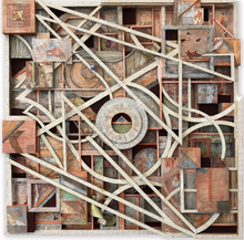 "Load image into Gallery viewer, ""Reflection In Copper"" By Chuck Fischer, Mixed Media on Wood Panel"