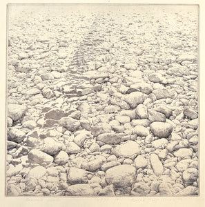 """Triangle Between Infinities"", by Tchah Sup Kim, 1976, Etching on Paper"