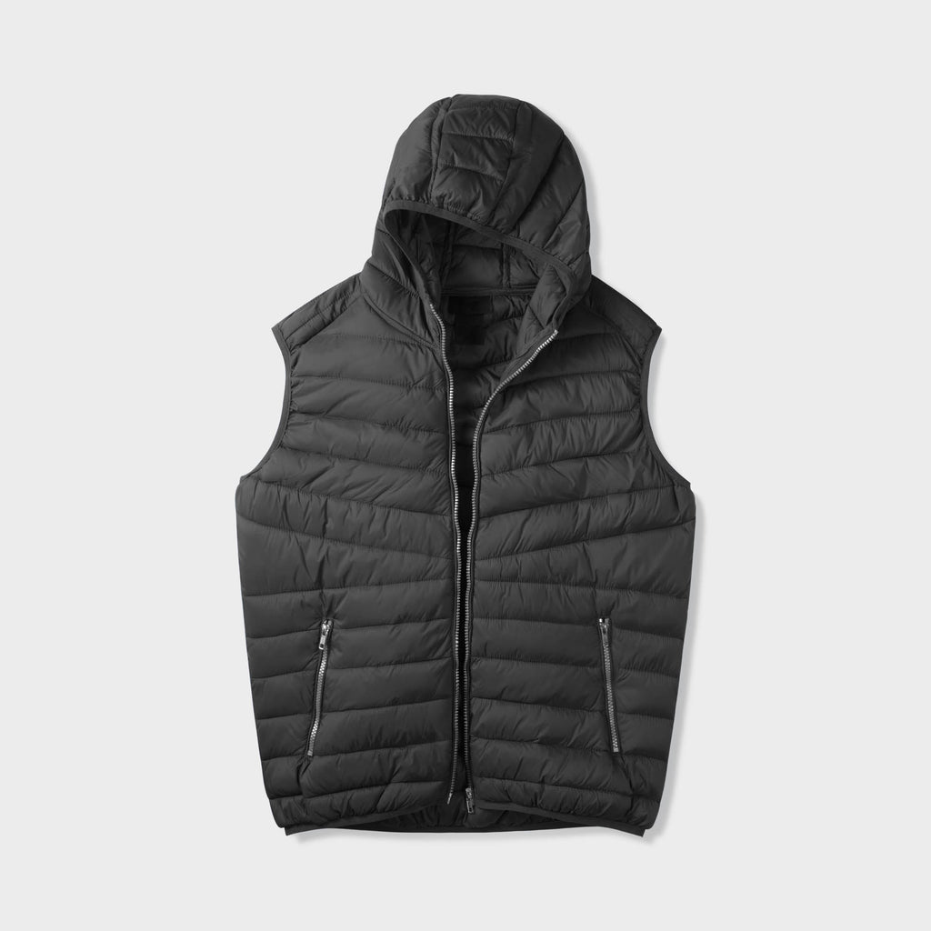 vest_mens vest_vest hoodie_mens hooded vest_puffy vest_vest jacket_mens vest jacket_winter vest_hooded down vest_Black