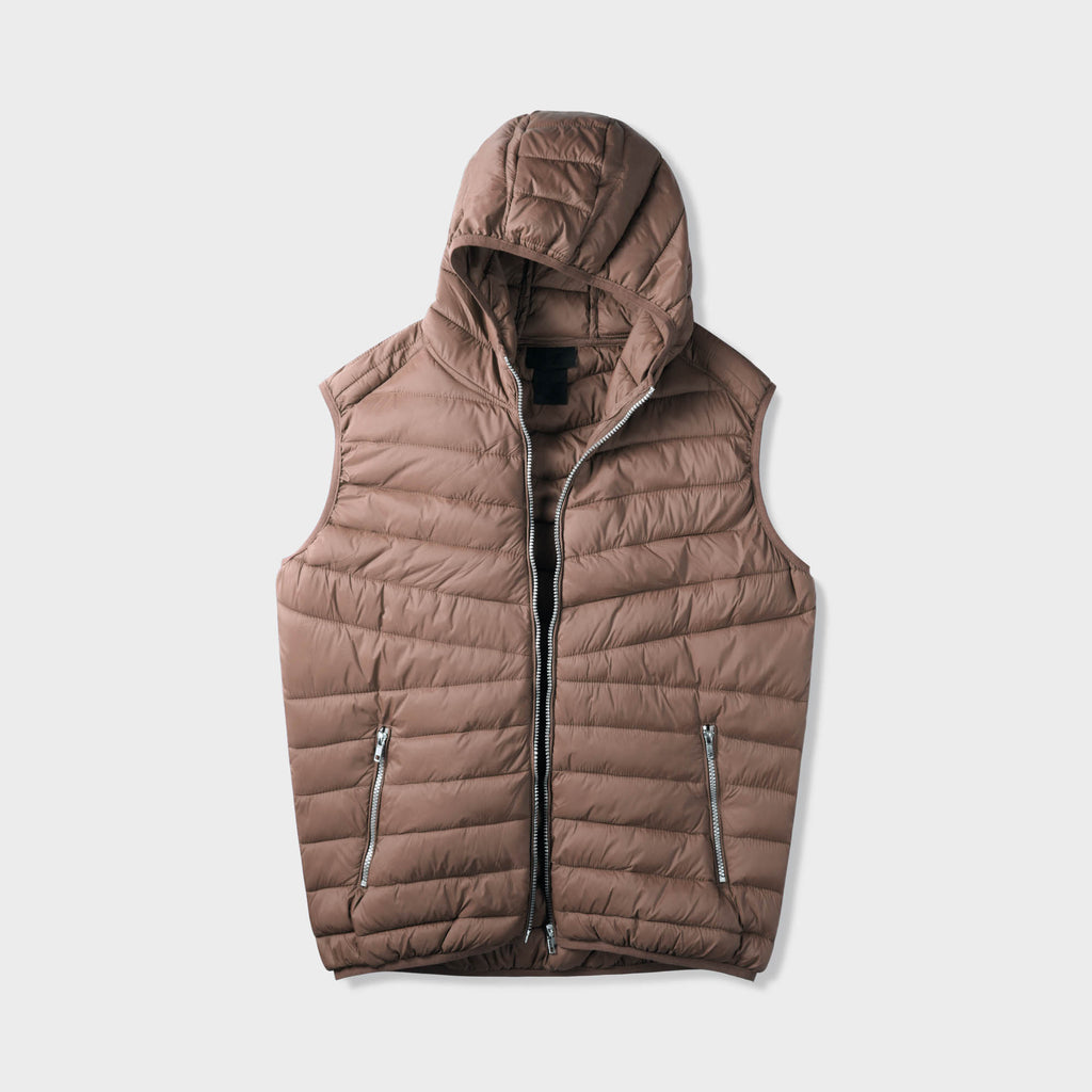 vest_mens vest_vest hoodie_mens hooded vest_puffy vest_vest jacket_mens vest jacket_winter vest_hooded down vest_Brown