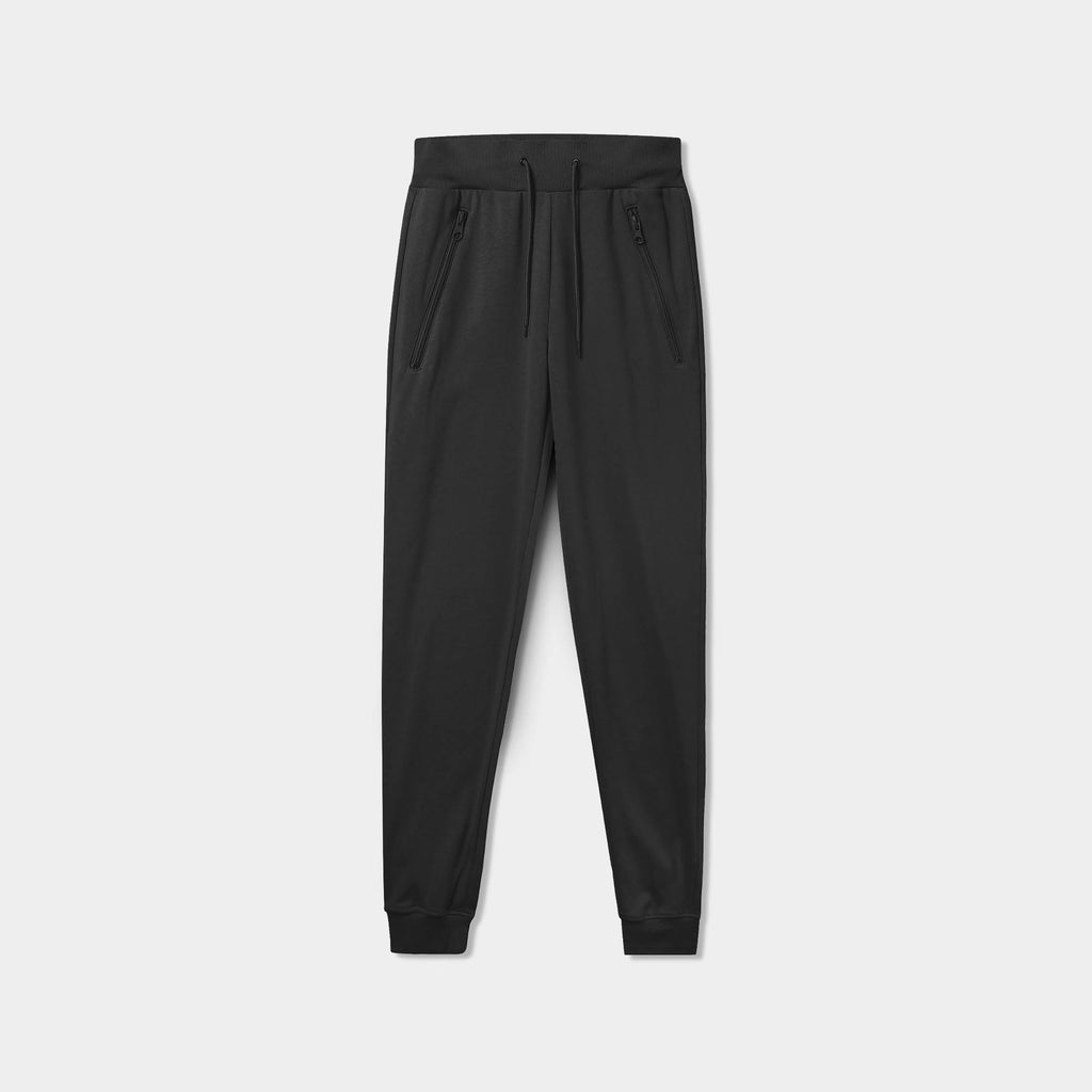 sweatpants with zipper pockets_sweatpants with zippers_men's sweatpants with zipper pockets_skinny jogger_mens skinny joggers_skinny sweatpants_boys skinny joggers_Black