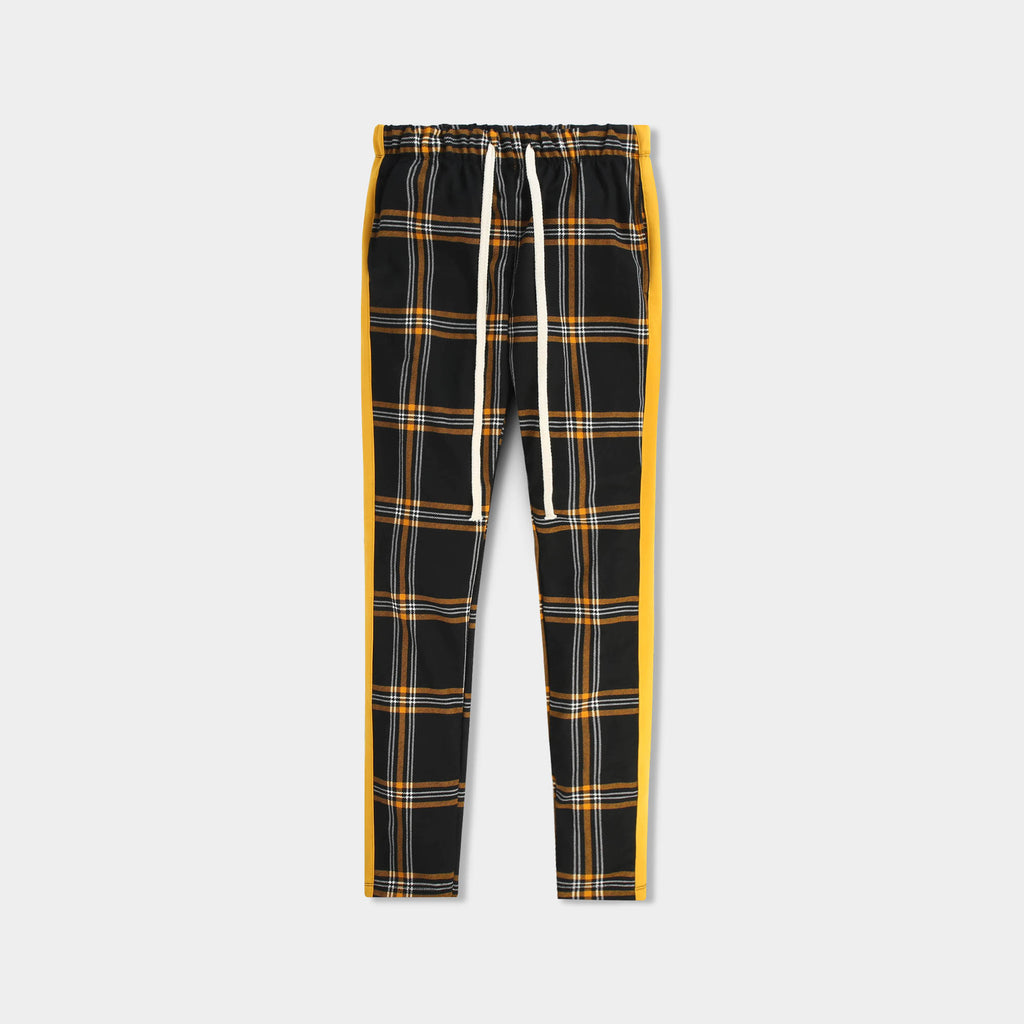 plaid track pants_plaid track pants mens_checkered track pants_mens plaid track pants_tartan plaid pants_plaid skinny zip track pants_Black/Mustard