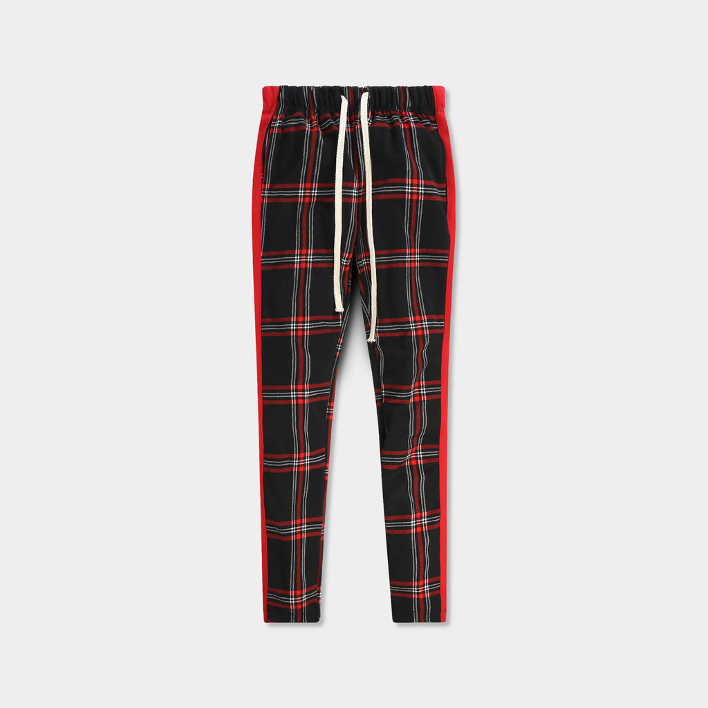 plaid track pants_plaid track pants mens_checkered track pants_mens plaid track pants_tartan plaid pants_plaid skinny zip track pants_Black/Red