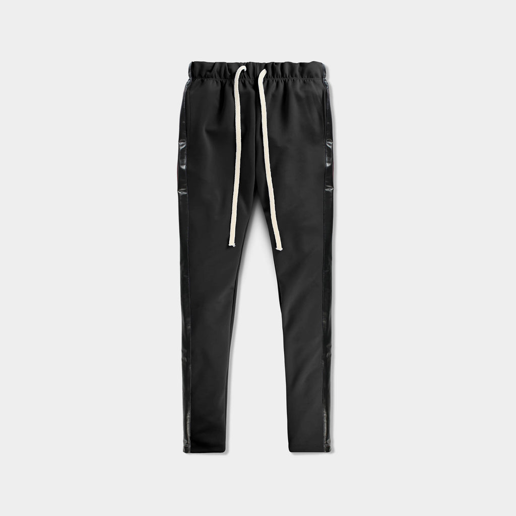 leather jogger_velvet sweatpants_crushed velvet joggers_velvet joggers mens_leather sweatpants_crushed velvet sweatpants_champion sweatpants_champion joggers_Black/Black