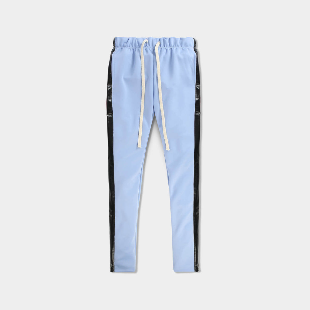 leather jogger_velvet sweatpants_crushed velvet joggers_velvet joggers mens_leather sweatpants_crushed velvet sweatpants_champion sweatpants_champion joggers_Light Blue/Black