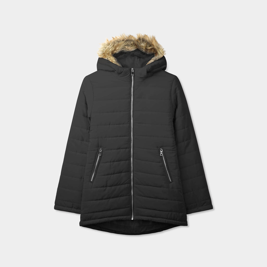 puffer coat_bubble jacket_bubble coat_womens puffer coat_down coat_long puffer coat_puffer coat with fur hood_womens puffer coat with fur hood_Black