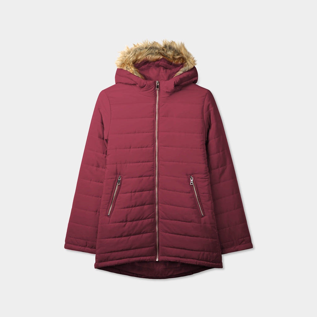 puffer coat_bubble jacket_bubble coat_womens puffer coat_down coat_long puffer coat_puffer coat with fur hood_womens puffer coat with fur hood_Burgundy