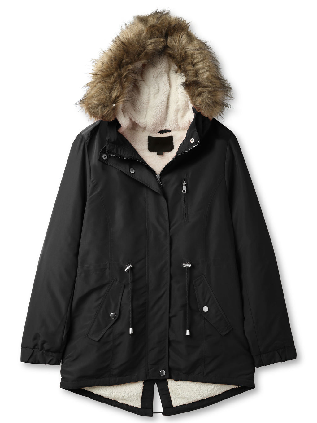 Womens Sherpa-Lined Hooded Anorak Jacket