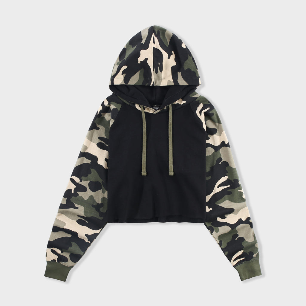 crop_top_hoodie_fleece_long_top_corto_sleeve_pullover_camisa_de_entrenamiento_hooded_sweatshirt_casual_loose_shirt_teen_girl_fashion_cute_raglan_army_camo_tye_dye_cropped_party_birthday_gift_school_Black/Green Camo