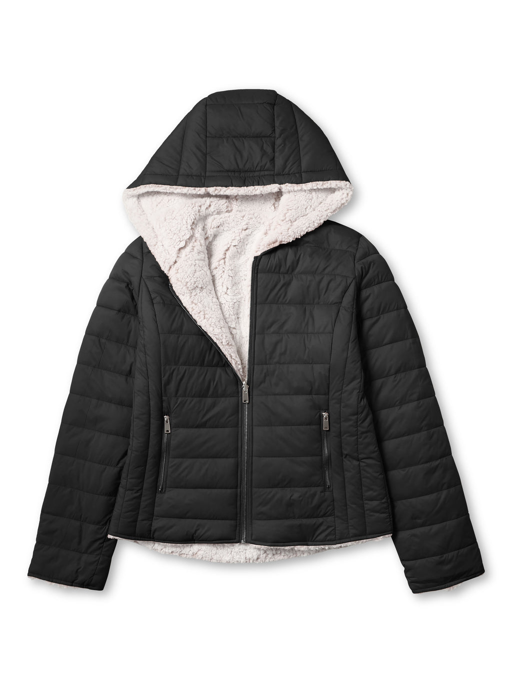 ladies_reversible_jacket_hood_fleece_white_puffer_with_fur_black_collection_water_resistance_off_white_synthetic_alternative_down_sherpa_lined_lightweight_military_parka_ski_coat_nuage_quilted_outerwear_warm_winter_fall_plush_padding_petite_mujer_chaqueta_outdoor_hike_performance_camping_commuter_short_midlength_Black