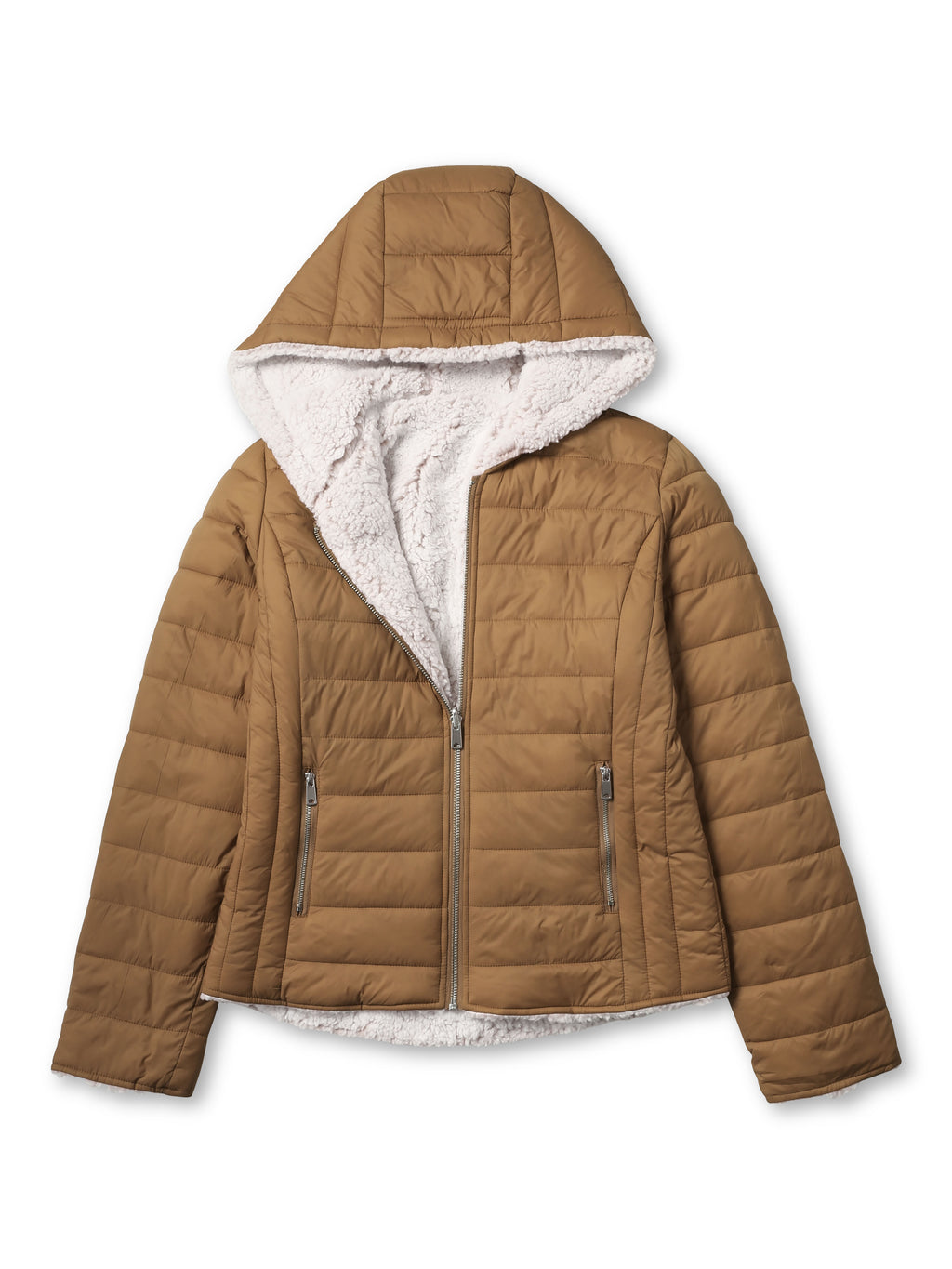 ladies_reversible_jacket_hood_fleece_white_puffer_with_fur_black_collection_water_resistance_off_white_synthetic_alternative_down_sherpa_lined_lightweight_military_parka_ski_coat_nuage_quilted_outerwear_warm_winter_fall_plush_padding_petite_mujer_chaqueta_outdoor_hike_performance_camping_commuter_short_midlength_Camel