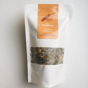 self ceremony herbal organic salt soak trace minerals and nutrients hydrate and restore skin enhance circulation
