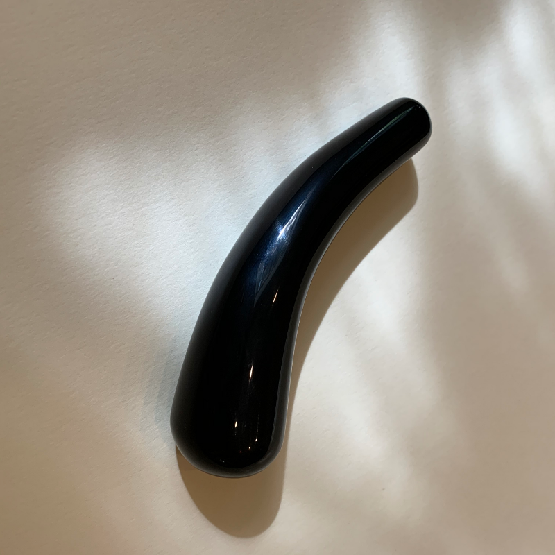 obsidian curved wand. crystal dildo. self-pleasure. masturbation with a crystal. crystal dildo.