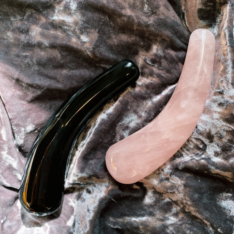 rose quartz crystal dildo. curved dildo. mini moon crystal wand. self ceremony. obsidian and rose quartz stone.