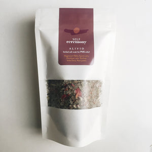 self ceremony herbal organic salt soak alivio rose petal pms relief yerba santa skullcap