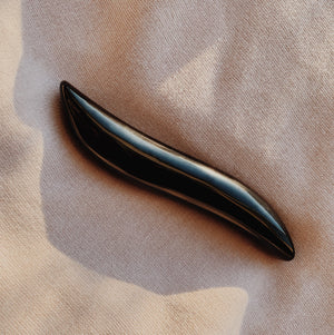 obsidian curved wand. crystal dildo. self-pleasure. sensual self-care. crystal healing. crystal wand