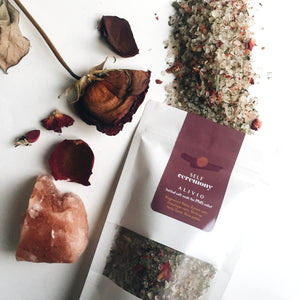 self ceremony herbal organic salt soak magnesium epsom salts medicinal relaxing rose petals emotional release pms relief