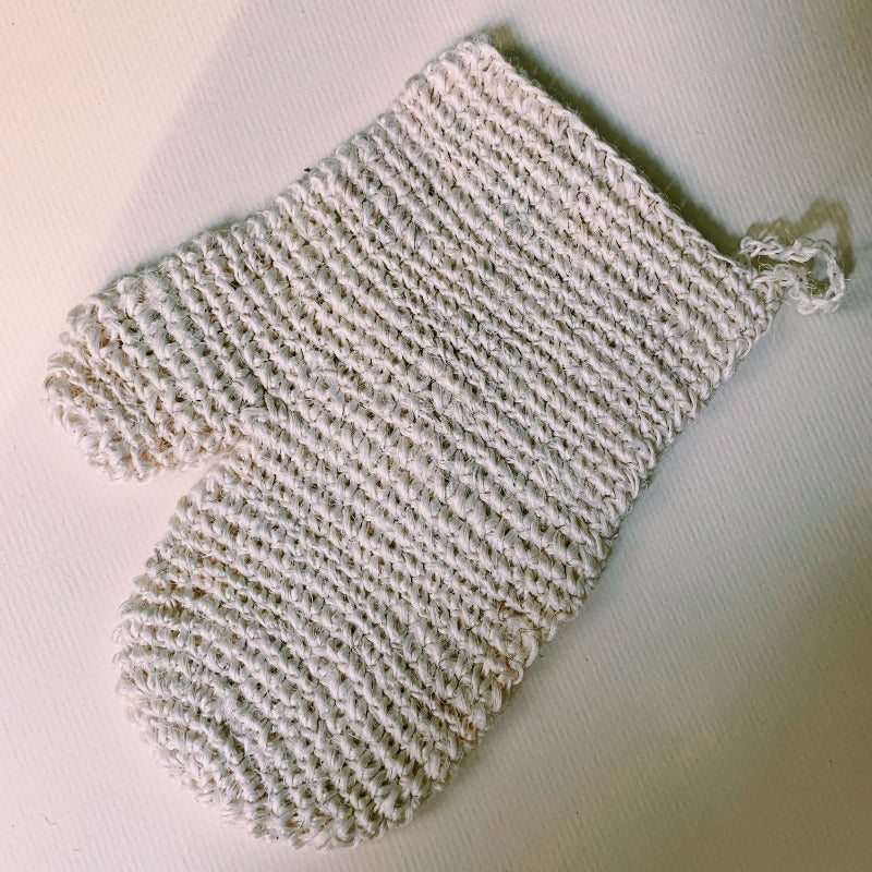 hand woven sisal mitt. self-care bath salts. body mitt. exfoliating glove. exfoliating scrub. self-massage guide. how to exfoliate.