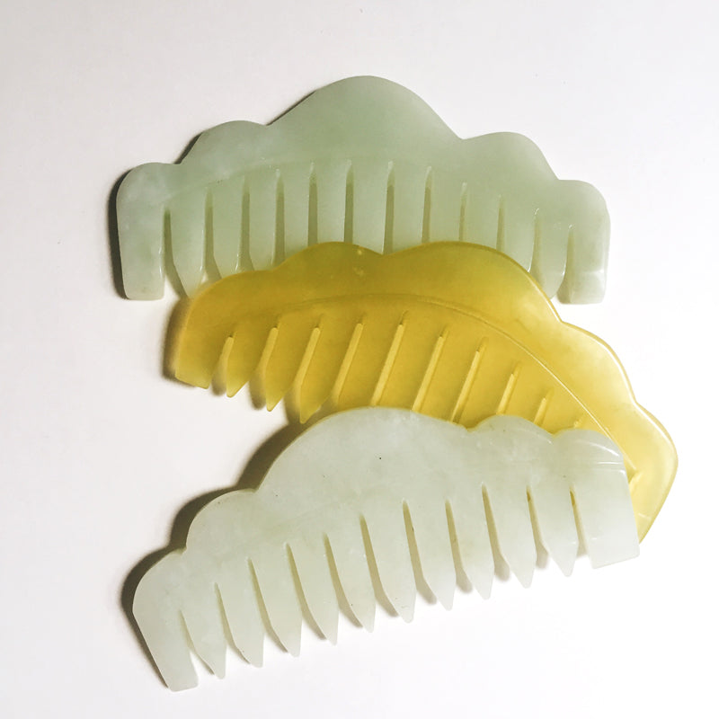 jade crystal comb. healing. scalp massage reduces dandruff headaches and migraines circulation. wellness