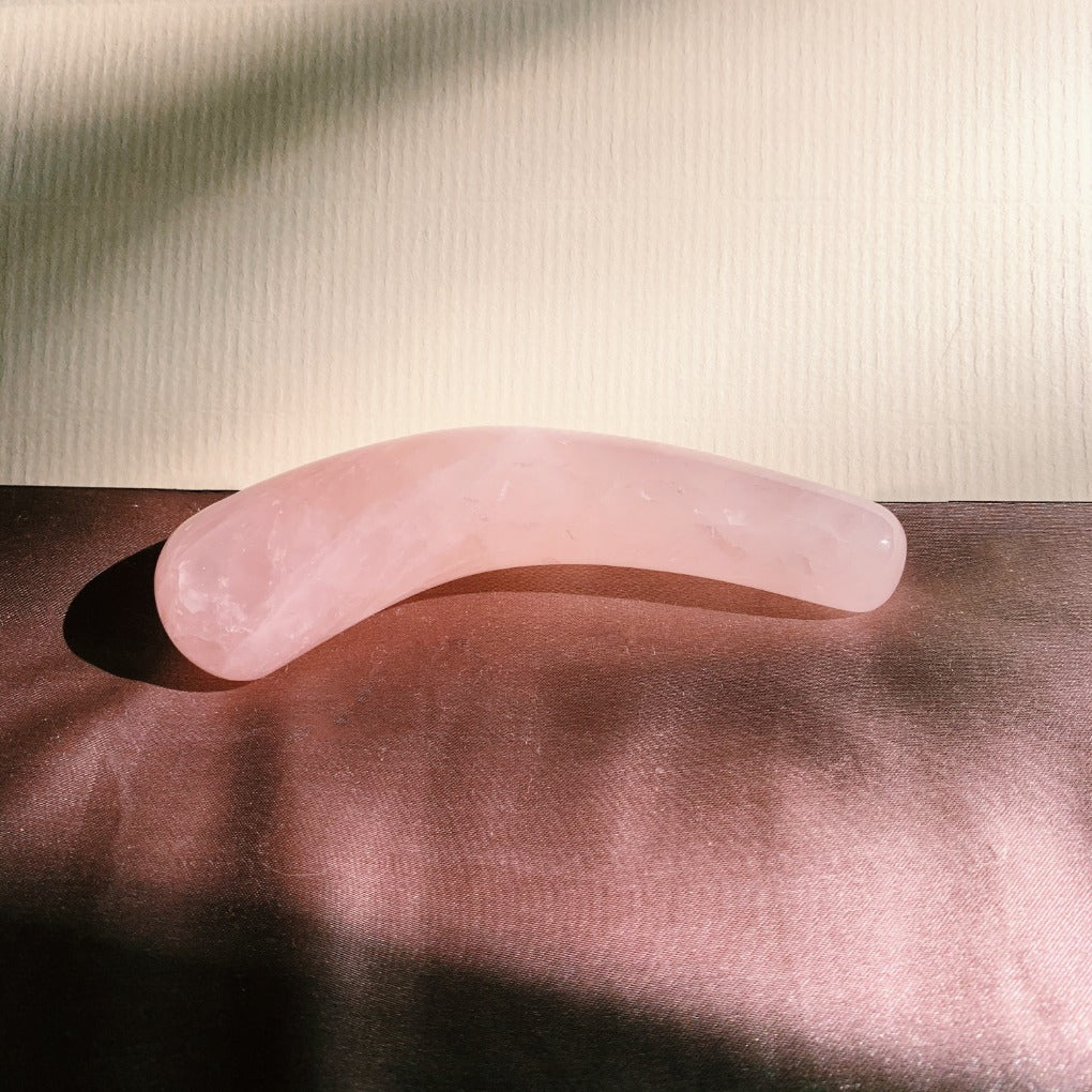 rose quartz mini moon. pleasure wand rose quartz moon. rose quartz yoni dildo. Self Ceremony.