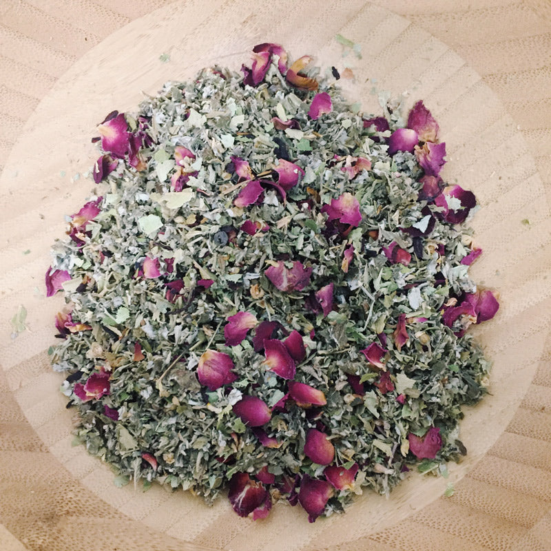 the heart blend. organic smokeable herbal blend. rose petals damiana hibiscus linden. heart-opening. spark joy. connection with others and our own selves