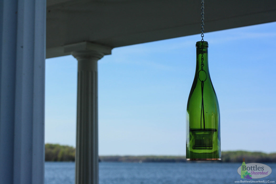 Single Hanging Wine Bottle Lantern - Blue Ridge Mountain Gifts