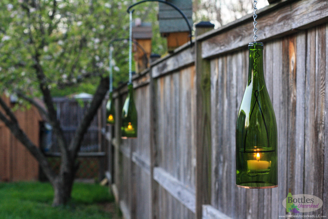 Set of Four Hanging Wine Bottle Lanterns - Blue Ridge Mountain Gifts
