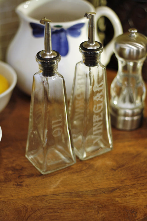 178ml Pyramid Engraved Oil and Vinegar Sets - Blue Ridge Mountain Gifts