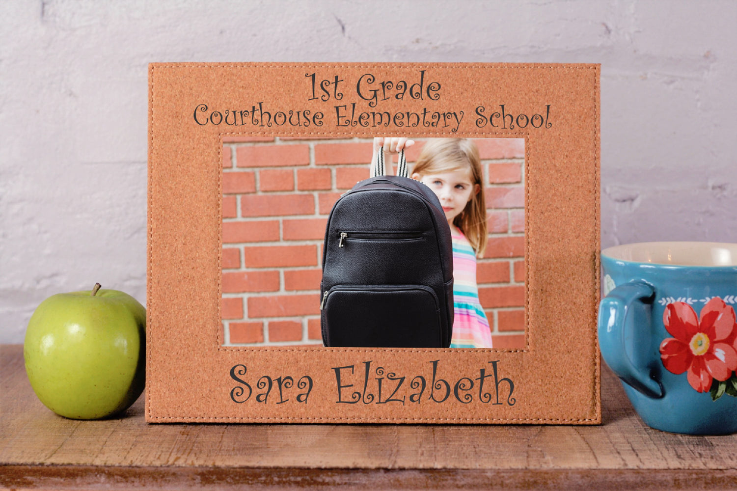 School and Grade | Leatherette Picture Frame