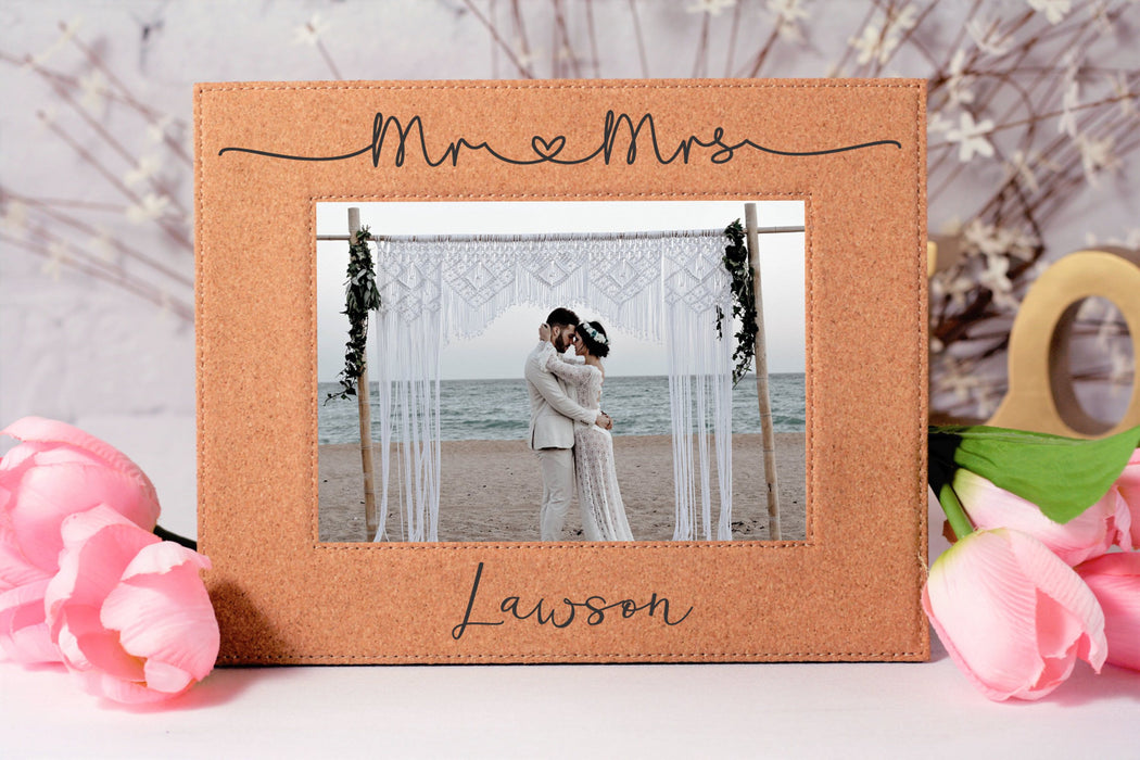 Mr & Mrs Shoestring Love | Leatherette Picture Frame