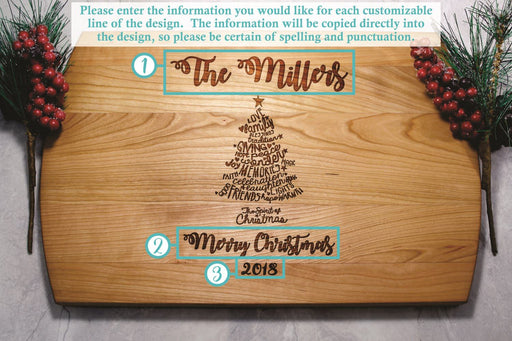 Family Christmas Tree | Personalized Laser Engraved Cutting Board