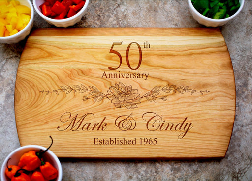 Floral Anniversary | Personalized Laser Engraved Cutting Board