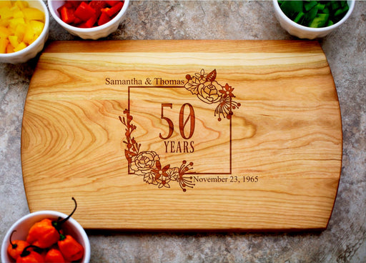 Flourishing Love | Personalized Laser Engraved Cutting Board