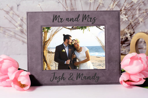 Mr & Mrs Brushello Script | Leatherette Picture Frame