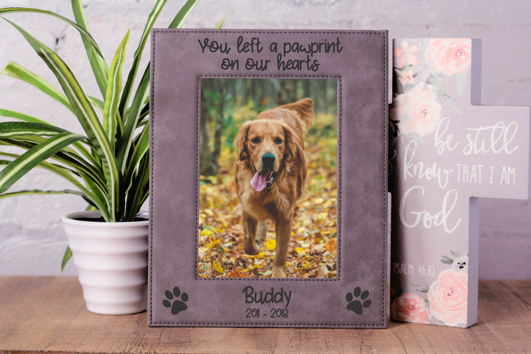 Pawprint on Our Hearts | Leatherette Picture Frame