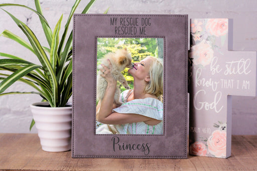 Rescued Me | Leatherette Picture Frame