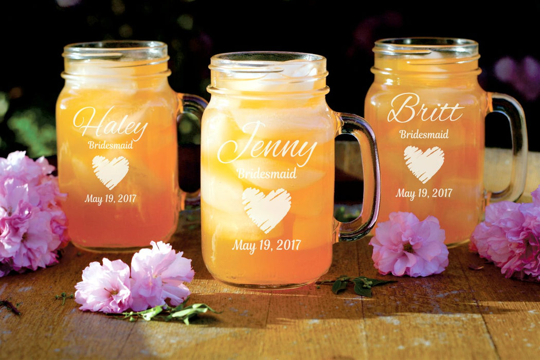 Heart | 16oz Mason Jar with Handle
