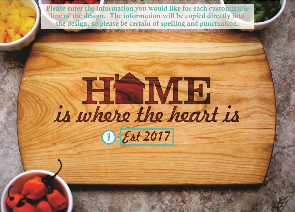 Home is Where the Heart is | Personalized Laser Engraved Cutting Board