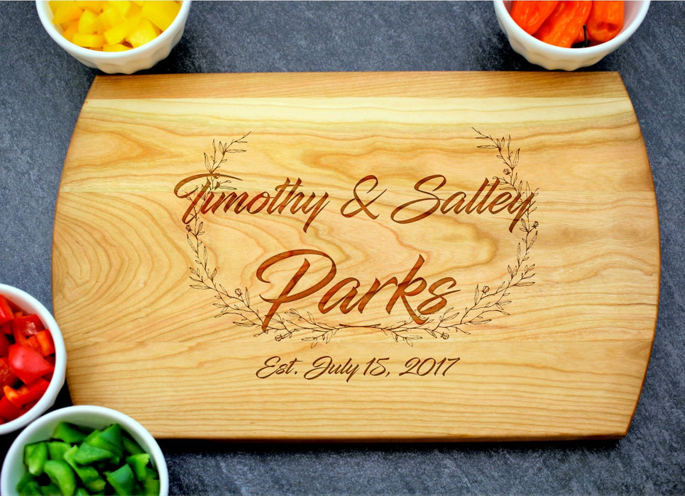 Laurel Wreath | Personalized Laser Engraved Cutting Board
